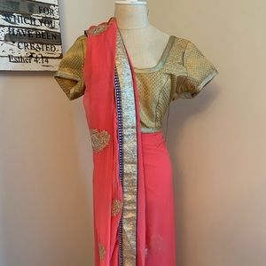 Lovely Coral and gold embroidered sari